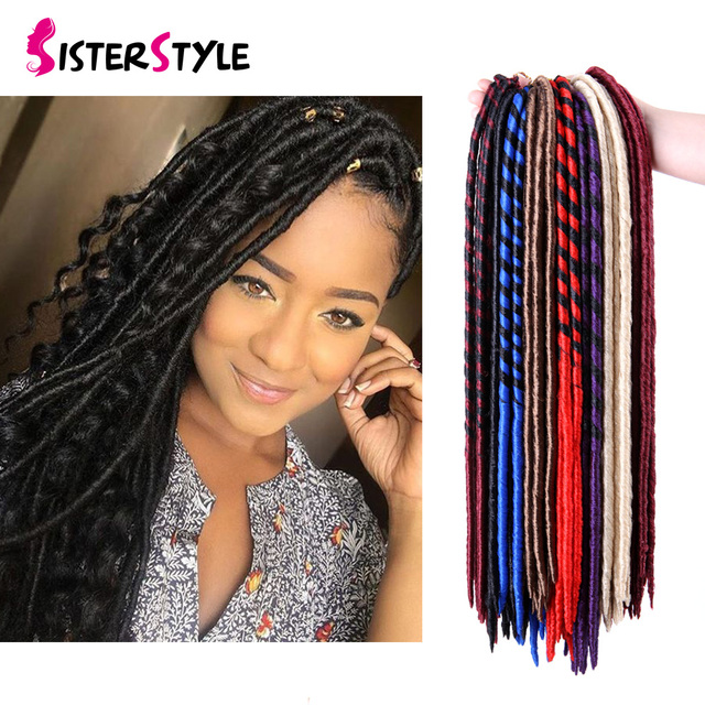 18inch 24 Strands 100g/pack Faux Locs Crochet Hair Dreadlocks Hair Synthetic Crochet Braids Hair ...
