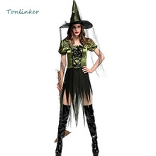 Halloween Women Party Carnival Stage Cosplay Witch Irregular Costume For Sexy Dress+Hat Sorceress Party Set цена