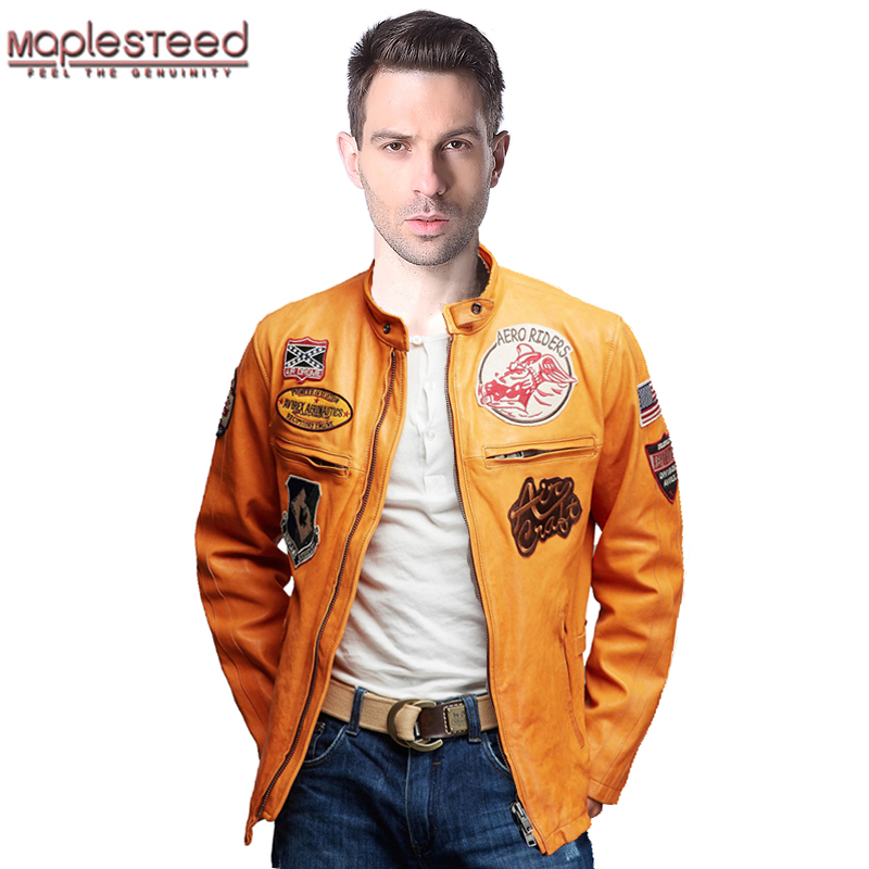 MAPLESTEED Brand Men's Genuine Leather Jacket Men Leather Coat Yellow Black Patches 100% Tanned Goatskin Flight Jacket Pilot 160