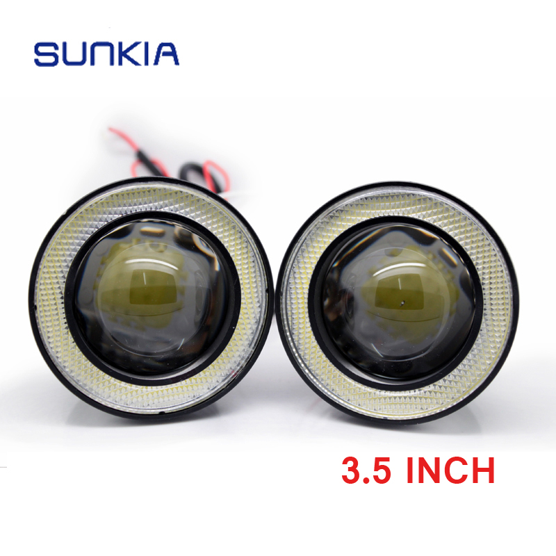 New Car Styling 3.5 inch Super Bright LED COB Angel Eyes Car Fog Lights Lens Daytime Running Lights DRL Free Shipping