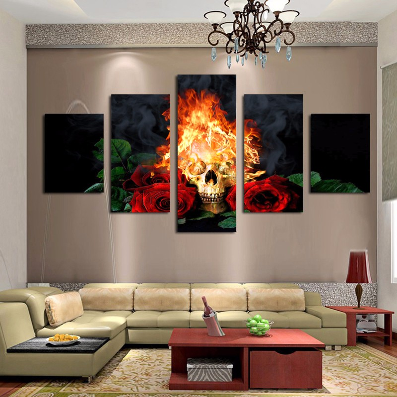 5 Панель Fire Skull & Красная роза современный дом Холсты для рисования Книги по искусству HD печати Холсты для рисования стены картину Домашний Д...