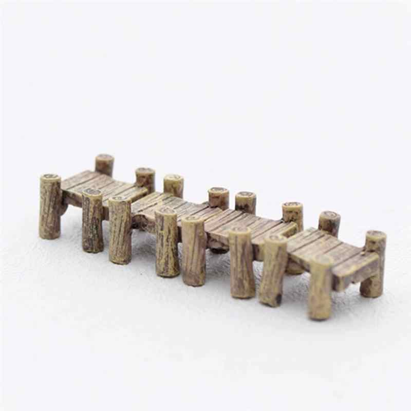 3pcs/Set Wooden Bridge Miniatures Fairy Figurines Resin Bonsai Micro Landscape DIY Crafts Fairy Garden Decoration