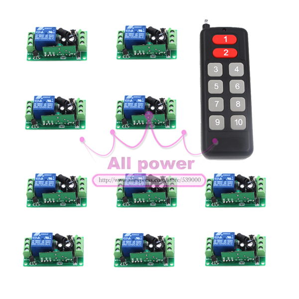 12CH Switch RF Wireless Remote Control Switch System transmitter +12 receiver(switch)12V 10A Output State is Adjustable dc24v 15ch rf wireless switch remote control system receiver
