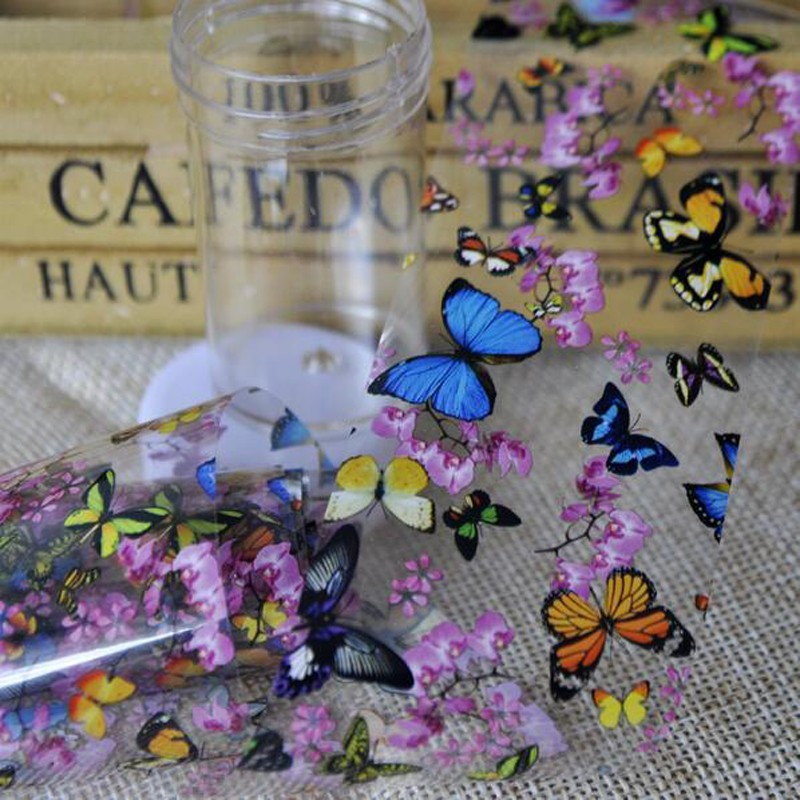 1 Bottle Nail Art Transfer Foils Nail Sticker Tip Decal Decoration Design DIY Butterfly Plum Flower Manicure Tools