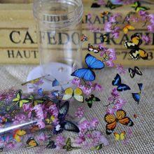 Feuilles de transfert pour Nail Art, 1 bouteille de décalcomanie de décoration pour les ongles, motif papillon fleur de prunier, outils de manucure