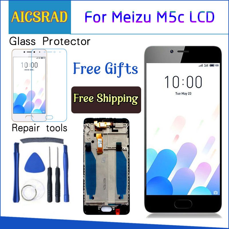 AICSRAD New LCD Display Replacement + Touch Screen Digitizer For <font><b>Meizu</b></font> <font><b>M5C</b></font> / Meilan 5C Black White Color Free Shipping image