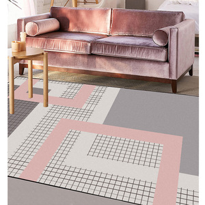 Image 3 - Nordic dark pink gray geometric lattice mat home bedroom bedside entrance elevator floor mat sofa coffee table anti slip carpet