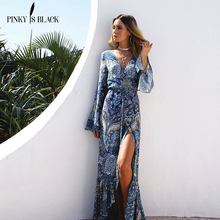 PinkyIsBlack 2018 new Bohemian Printed Dress vestidos Sexy beach summer dress 3XL chiffon vintage long Women maxi dresses