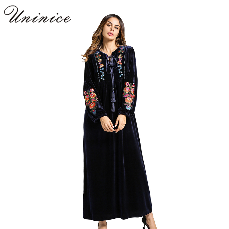 Fashion Women's Maxi Dress Embroidery Velvet Winter Abaya Warm Robe Gowns Loose Style Muslim Middle East Arab Islamic Clothing цена