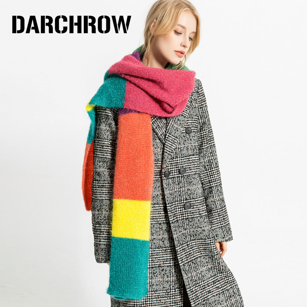 Darchrow Rainbow Color Scarf Winter Warm Soft Knitted Wool Women - Bufandas-de-colores