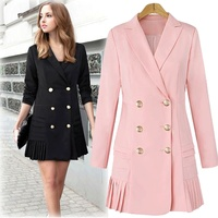 2019 New Spring Women's Windbreaker Lapel Long sleeved Double breasted Pleated Temperament Dress Long Suit Jacket