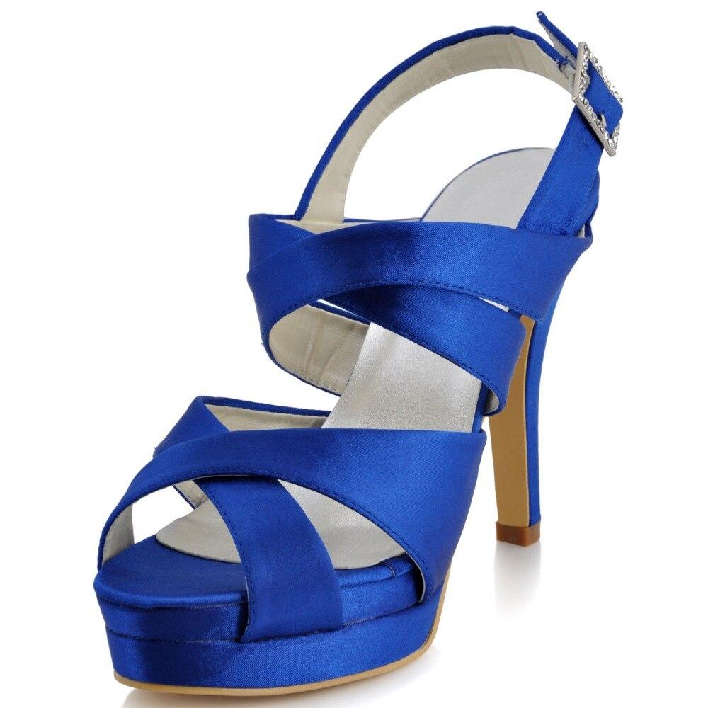 ФОТО Women Sandals Shoes EP11092-IPF Peep Toe Gladiator Evening Party Sandals Slingback Platform Satin Wedding Shoes