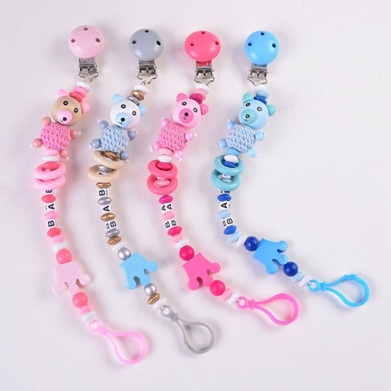 Baby Pacifier Clip Chain Infant Boys Girls Cute Cartoon Bear Letters Toys Teether Pacifier Chain Holder Baby Nipple Feeding