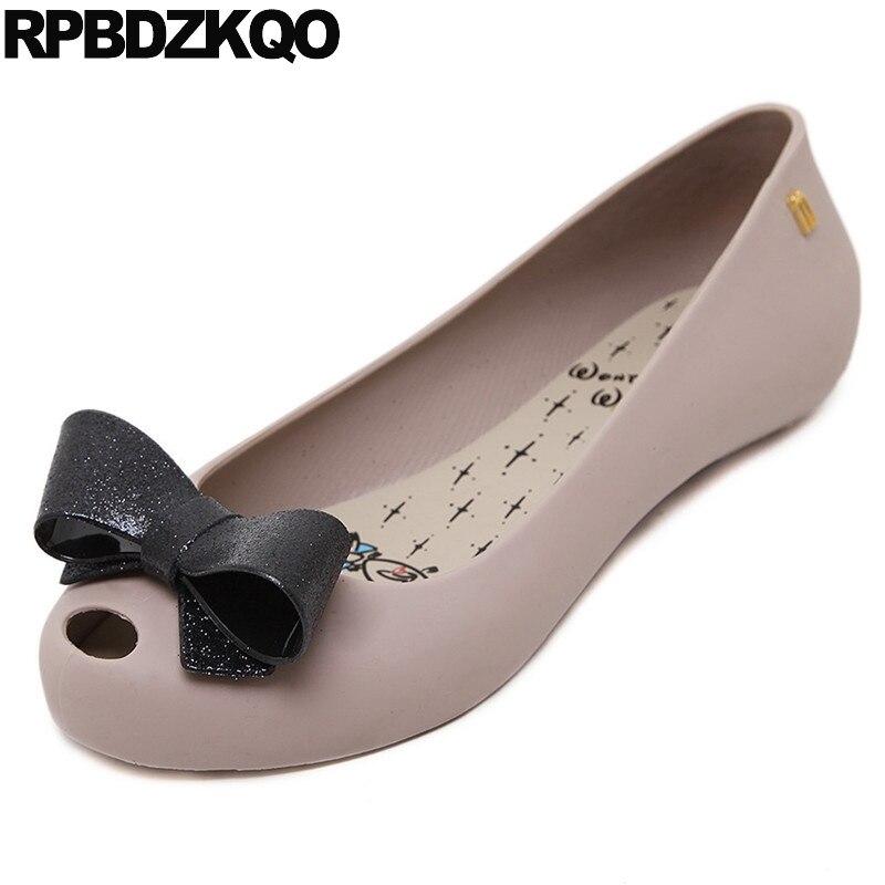 Bow 2018 Peep Toe Cheap Slip On Korean Jelly Navy Blue Gray Designer Kawaii Ladies Women Flats Shoes With Little Cute Bowtie игрушка ecx ruckus gray blue ecx00013t1