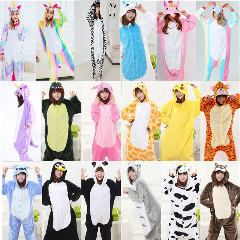 Wholesale Women Panda Stitch Horse Pajamas Flannel Hoodie Cartoon Sleepwear Hooded Pajamas Cute Animal Pajama