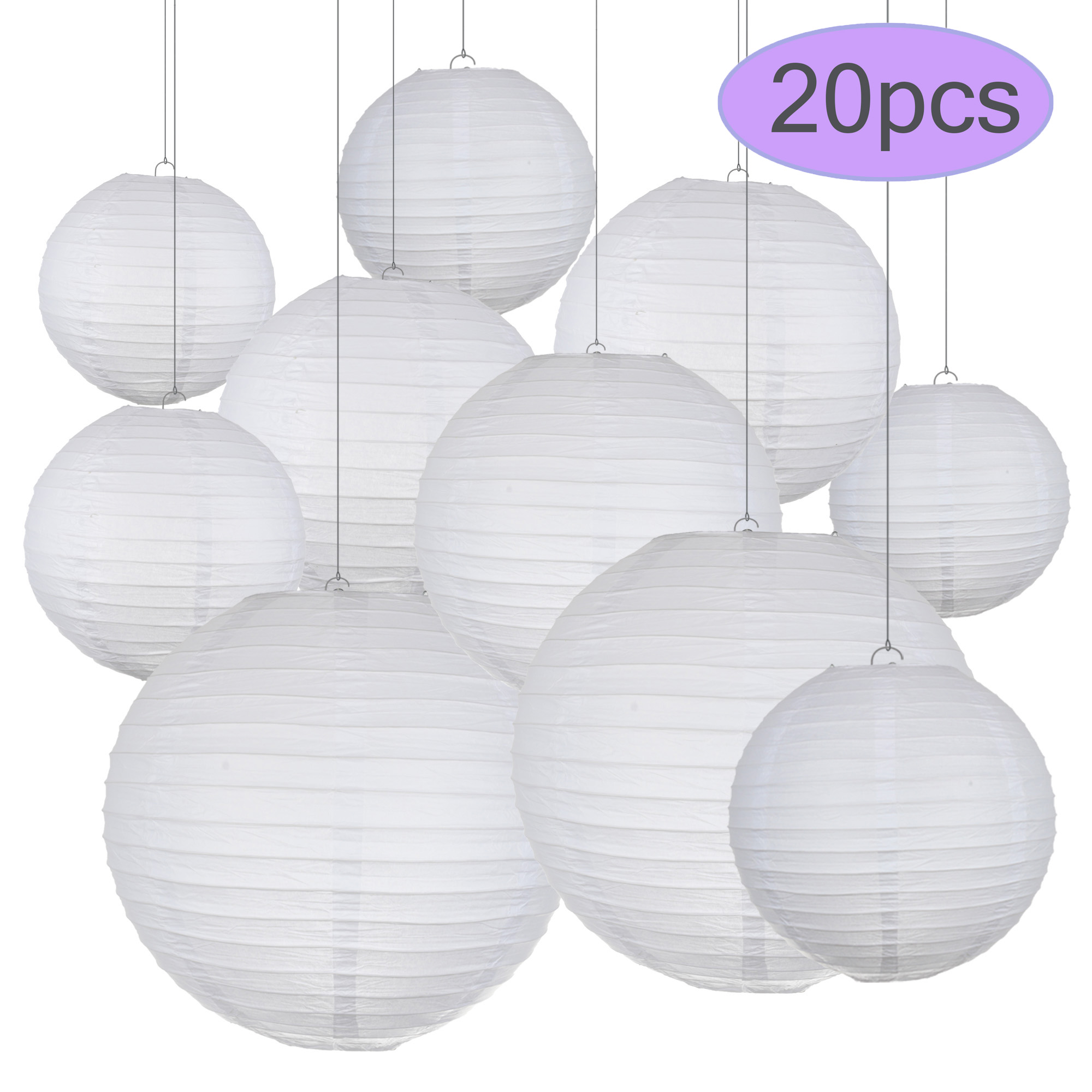 20pcs/Lot 681012inch White Chinese Paper Ball Lampion Wedding Decoration Lanterns Paper Lampshade Engagement  Party  Decor20pcs/Lot 681012inch White Chinese Paper Ball Lampion Wedding Decoration Lanterns Paper Lampshade Engagement  Party  Decor