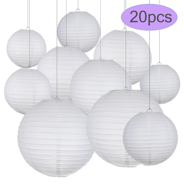 """20pcs/Lot 6""""8""""10""""12inch White Chinese Paper Ball Lampion Wedding Decoration Lanterns Paper Lampshade Engagement  Party  Decor"""