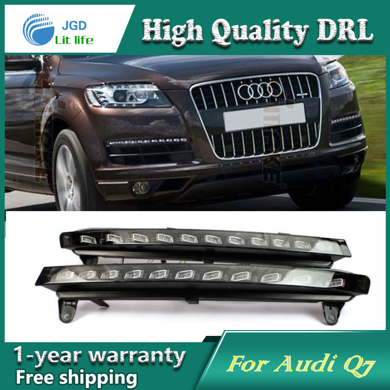 Free shipping !12V 6000k LED DRL Daytime running light case for Audi Q7 2006 2007 2008 2009 fog lamp frame Fog light Car styling