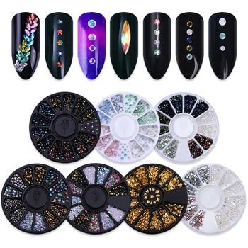 Decoración de uñas de diamantes de imitación de Color gelatinoso en la rueda con fondo plano afilado, tachuelas de Metal, remache láser, decoración de cuentas, 1 caja
