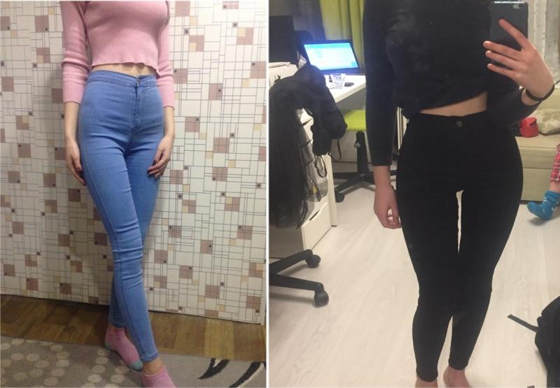 2018 herbst Schlank Elastizität Dünne Jeans Frauen Europa Hohe Taille Push-Up Bleistift Hosen Mujer Casual Tiefe Blau Vintage Plaid denim