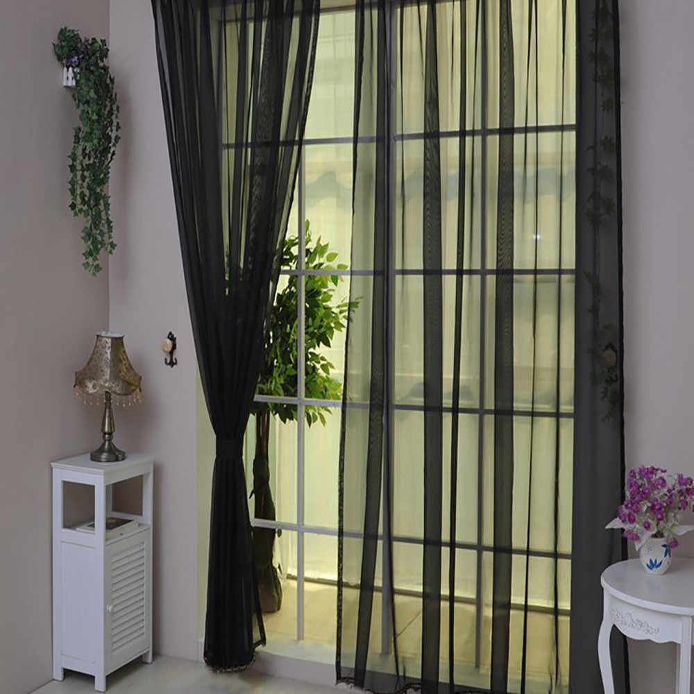 Hot Sale Curtain Pure Color Tulle Door Window Curtain Drape Panel Sheer Scarf Valances Modern bedroom Living Room Curtain black