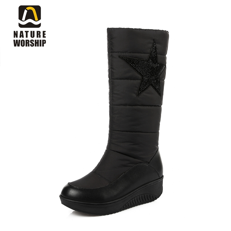 Big size women shoes mid-calf boots Genuine leather women snow boots winter warm waterproof snow boots rhinestone shoes woman цена