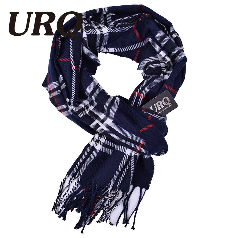 URQ winter knitted plaid scarf for men cashmere scarves