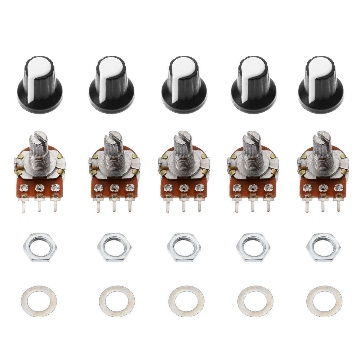 5pcs/set Mini Potentiometer 10K OHM 3 Pins Linear Mono Stereo Pot Rotary 15mm Resistor Potentiometer with Knobs