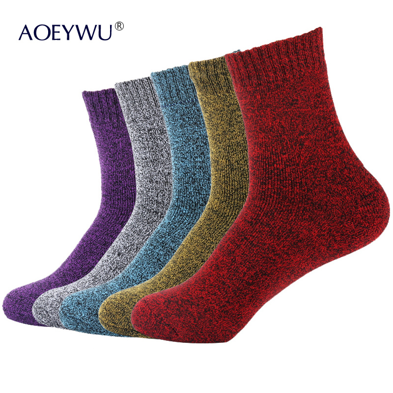 5Pairs/Lot Eur36-42 Women Fashion Colorful Terry Socks Winter Thicken Warm Female Towel Cotton Socks Hot 10 Bright Colors S328