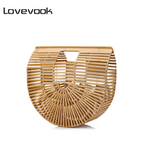 LOVEVOOK Women Handbags Bamboo Top Handle Summer Hollow Beach Bag Female Casual Tote Bags Ladies Half