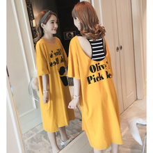 Summer new style Striped fake two-piece long t-shirt dress Korean  style loose dress Short sleeve stitching T-shirt dress