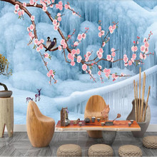 Factory direct new style flower and bird elk snow scene living room TV background wall