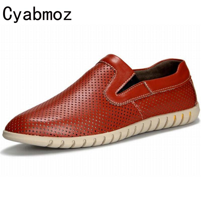 Genuine Leather Flats Men Shoes Loafers,New Fashion Slip On Moccasins,Handmade Driving Zapatos Hombre Breathable Cut Outs Summer cyabmoz 2017 flats new arrival brand casual shoes men genuine leather loafers shoes comfortable handmade moccasins shoes oxfords