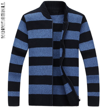 High Quality Sweater Men 2018 Autumn Winter New Arrival Striped Cardigan Men's Sweater Fashion Stand Collar Sweaters For Men