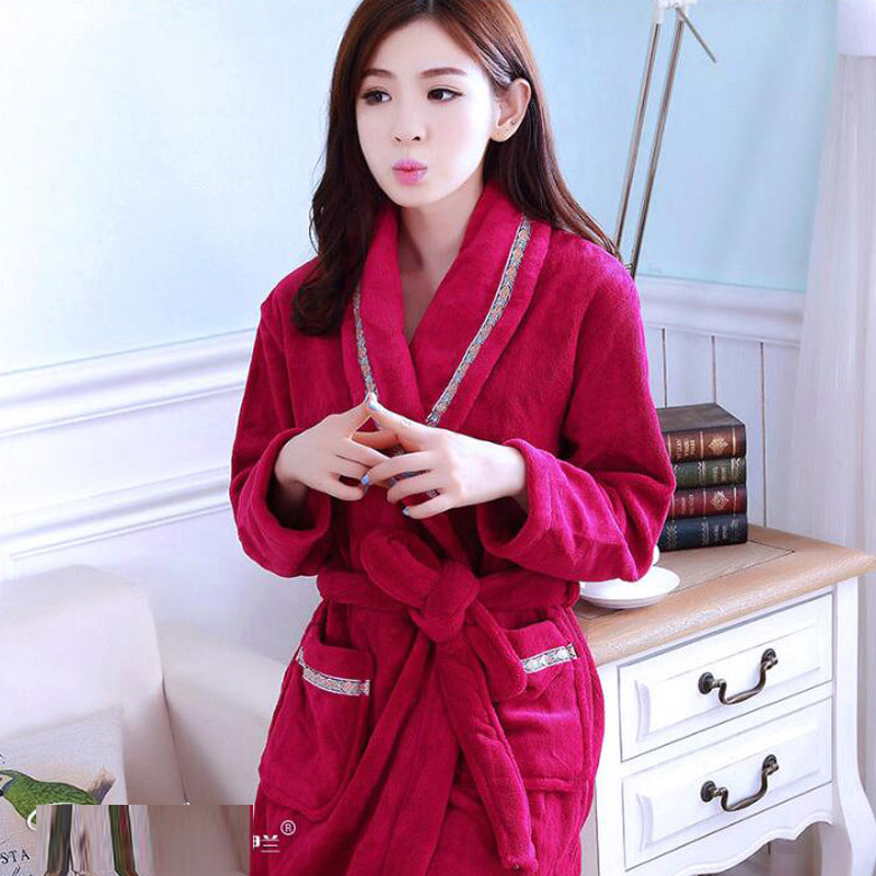 Winter Womens Nightgowns Flannel Warm Bathrobe Nightwear Kimono Dressing Gown Sleepwear Bath Robe For Ladies Peignoir Femme