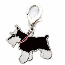 Drip Strings Pet Schnauzer Pendant Keychain Novelty Charm Metal Trinket Bones Keyring Promotional Gifts