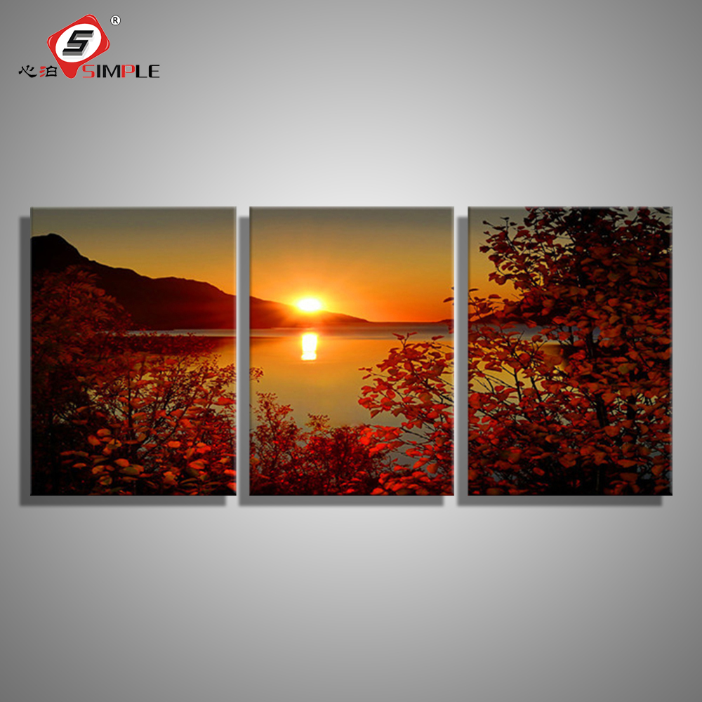 SIMPLE Oil Painting Canvas Lake Sunset Landscape Wall Art ...