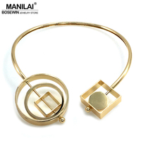 MANILAI Punk Metal Geometric Choker Necklaces For Women Jewelry 2018 Maxi Collar Statement Necklaces High Quality