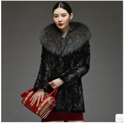 Women Black Faux Raccoon Fur Collar Jackets Long Section Fashion Female Faux Fur Coat Casaco Feminino