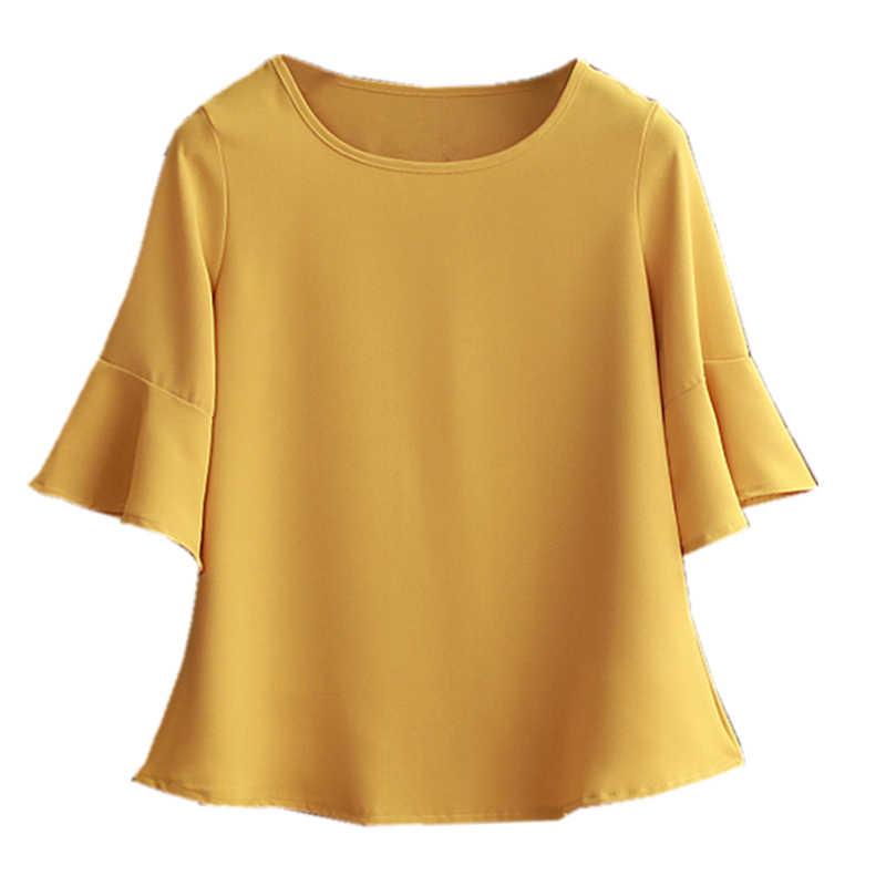 2019 夏肥満シフォンブラウスプラスサイズ 6XL 5XL 女性 flare スリーブ美しい自己 cultivati シャツブラウスショー薄い