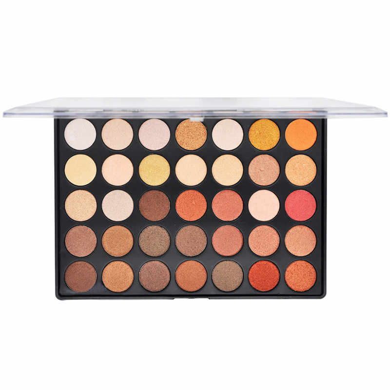 35 Warna Palet Eye Shadow Nude Matte Shimmer Bumi Hangat Berpigmen Warna Eyeshadow Palet Profissional Makeup Eye Shadow