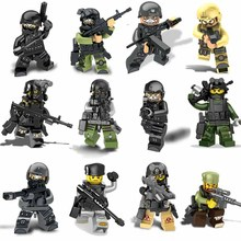 Single sale SWAT Team Figures Set City Police Ghost SWAT soldier Weapon Gun assembly Bricks Building Blocks Toys for Children new building blocks ninja emmet wyldstyle sheriff gordon zola bad cop robo swat brick toys for children l009 016