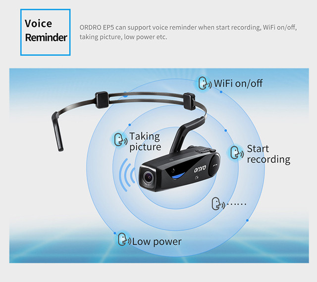 First-Person Perspective Digital Camera ORDRO EP5 Head Action DV Camcorder FHD 1080P Video Bluetooth Call WIFI APP Camera BAY24