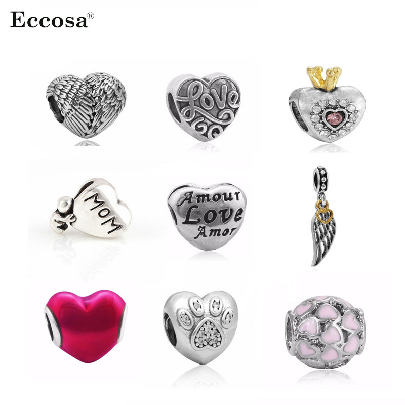 Who Sells Pandora Jewelry: Hot Sell Angel Wing & Heart Silver Charm Beads Fit Pandora
