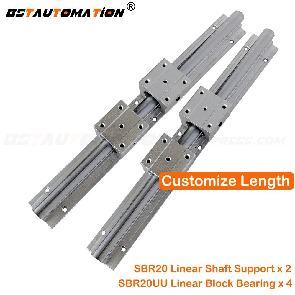 2pc 20mm Linear Guide Rails 300 400 500 600 700 800 900 1000mm 1100 1200 1500 SBR20 4pc SBR20UU Linear Bearing Block Any Length