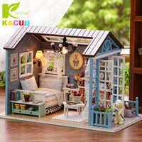 Casa De muñecas DIY Casa De muñecas en miniatura modelo De juguete De madera muebles Casa De muñecas Boneca casas juguetes Regalo De Cumpleaños bosque veces Z-007