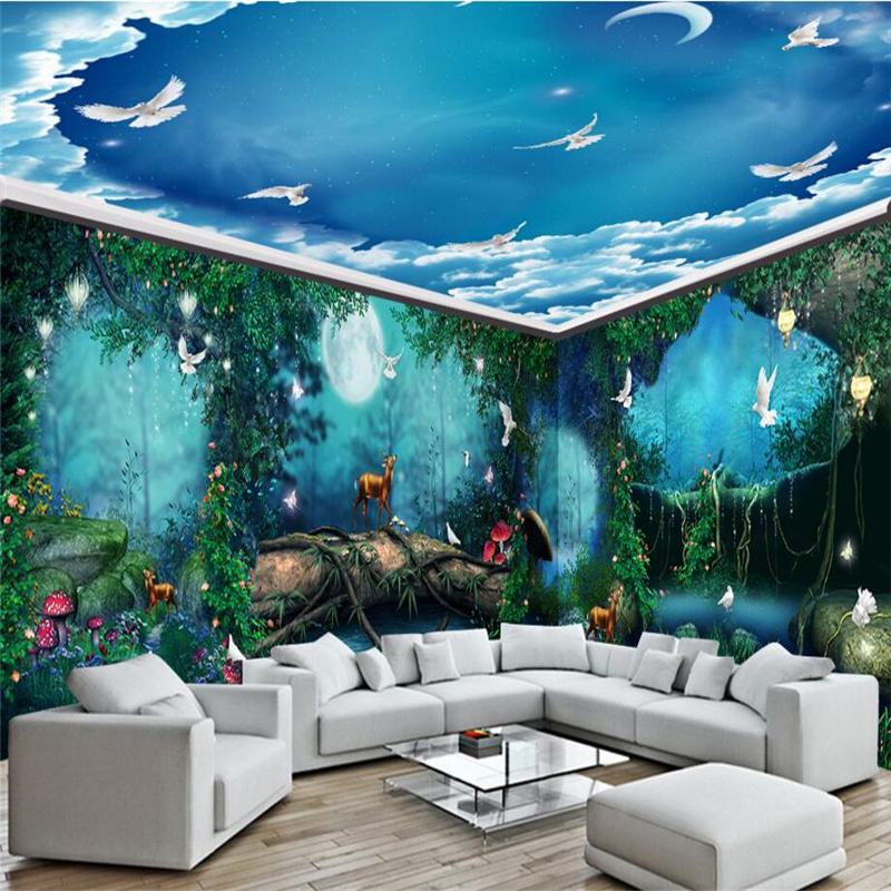 Beibehang dream fairy tale forest moonlight house photo for 3d wall mural painting