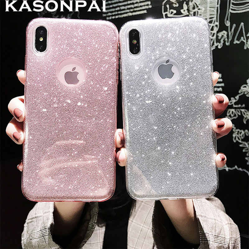 3 Layers DropProof Glitter Case for iphone XS MAX X XR 6 7 6S 8 Plus ShockProof Armor PC+TPU Sexy Girl Protector Back Cover Case