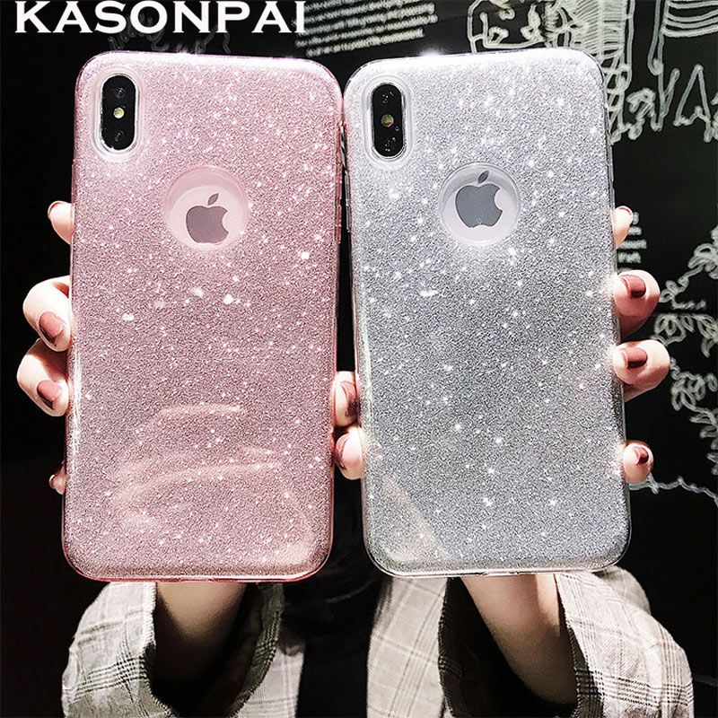3 Layers DropProof <font><b>Glitter</b></font> <font><b>Case</b></font> for <font><b>iphone</b></font> XS MAX X <font><b>XR</b></font> 6 7 6S 8 Plus ShockProof Armor PC+TPU Sexy Girl Protector Back Cover <font><b>Case</b></font> image