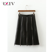 RZIV 2017 female casual solid color zipper decoration pleated skirt